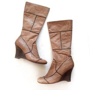 Aldo Leather Tan Brown Tall Wedge Heel Boots